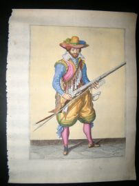 Jacob de Gheyn 1608 Fine Hand Coloured Musketeer Print 19